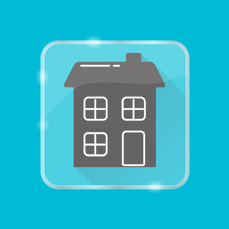 House silhouette icon in flat style on rounded square frame.