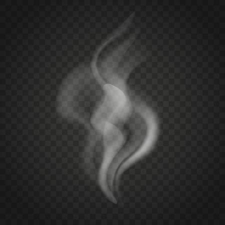 Przezroczyste fale dymu lub pary na białym tle na ciemnym tle. Strużki dymu wektor.