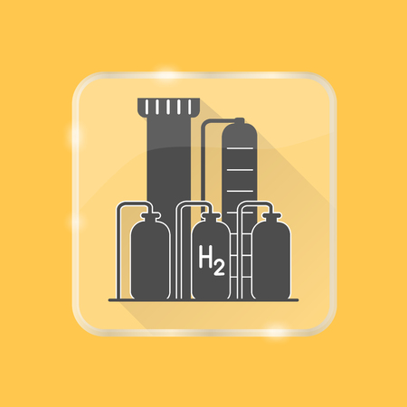 Hydrogen plant silhouette icon with long shadow in flat style on transparent button. Renewable energy production symbol isolated.