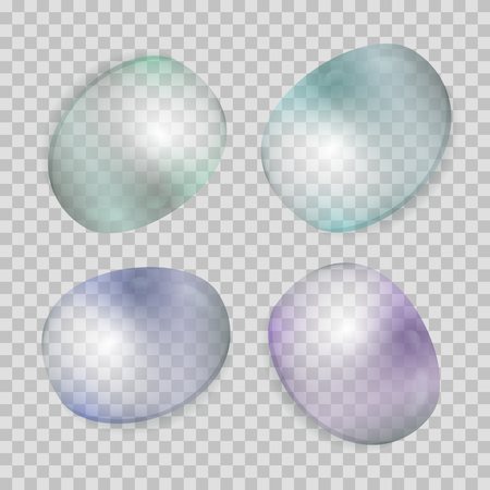 Realistic transparent water drops set. Liquid droplets with tint isolated on checkered background.