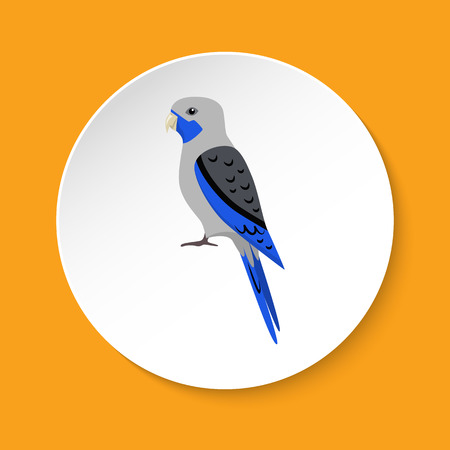 Blue rosella parrot icon in flat style Illustration