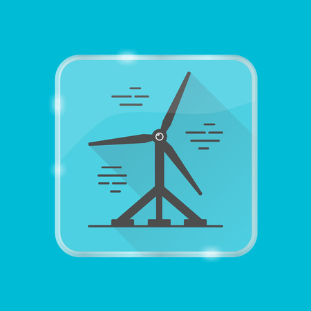 Tidal energy silhouette icon isolated. Water turbine symbol in flat style on transparent button.