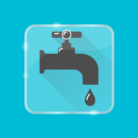 Water tap silhouette icon in flat style on transparent button. Leaking faucet with liquid drop.