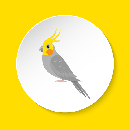 Corella parrot icon in flat style on round button. Pet bird symbol isolated.