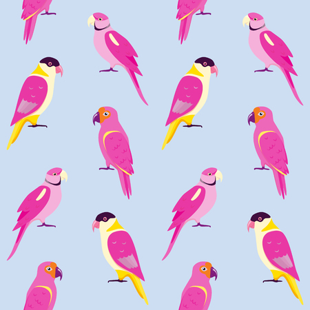 Seamless pattern with colorful parrots. Repeating background with tropical birds.