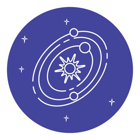 Solar system icon in thin line style. Planets rotating around the star. Space structure symbol in round frame.