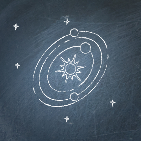 Solar system icon on chalkboard. Planets rotating around the star. Space structure symbol - chalk drawing.