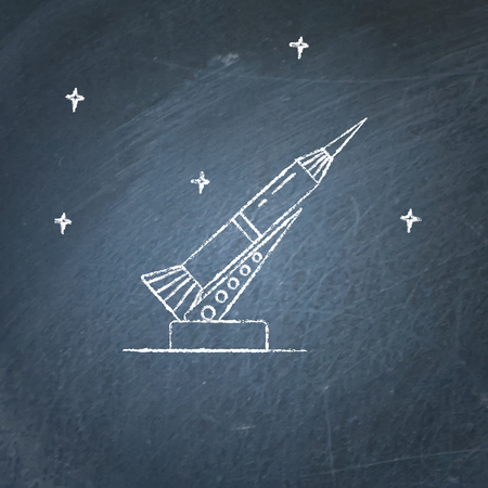 Rocket and launch pad icon on chalkboard. Spaceship symbol - chalk drawing.  イラスト・ベクター素材