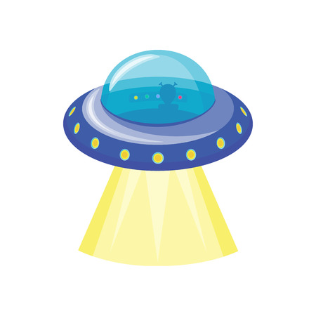 Ufo spaceship icon. Flying saucer with aliens inside. Extraterrestrial civilization symbol isolated on white background.