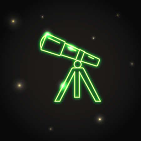 Neon telescope icon in thin line style. Astronomy device electric light symbol in dark sky. Vector Illustration