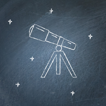 Telescope icon on chalkboard. Astronomy device symbol - chalk drawing.