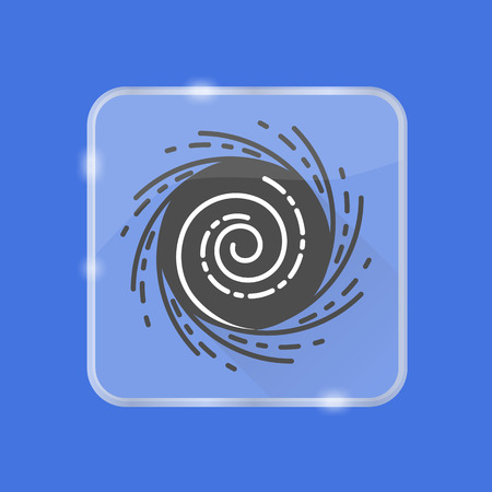 Black hole silhouette icon with long shadow in flat style on transparent button. Space object symbol isolated.