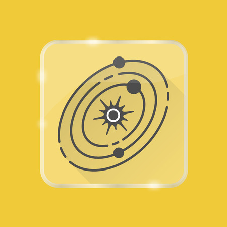 Solar system silhouette icon with long shadow in flat style on transparent button. Planets rotating around the star. Space structure symbol isolated. Vettoriali