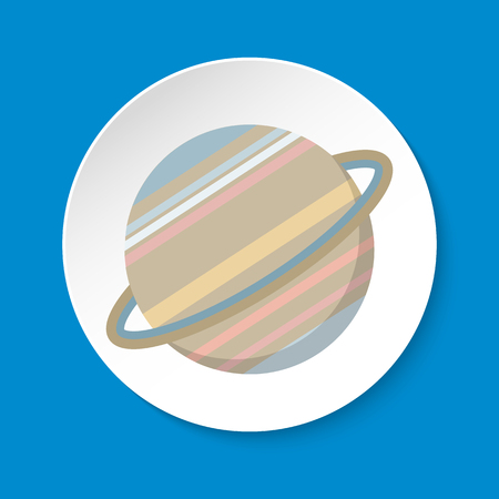 Planet Saturn icon in flat style on round button Çizim