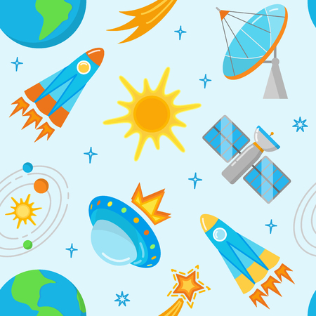 Seamless pattern with bright space icons in flat style  イラスト・ベクター素材