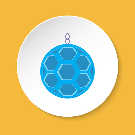 Bird hanging ball accessory icon in flat style for parrot, canary or other bird in cage. Colorful pet toy symbol on round button.