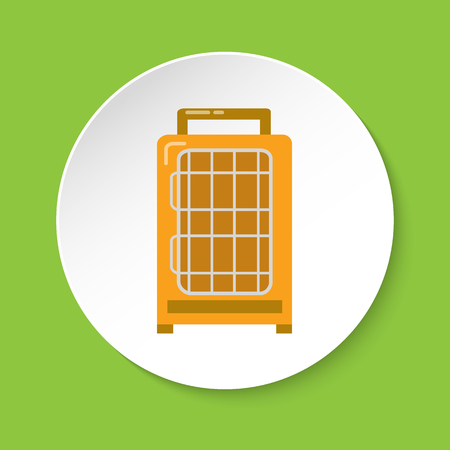 Bird travel carrier icon in flat style for parrot, canary or other bird in cage. Colorful pet transport cage symbol on round button.