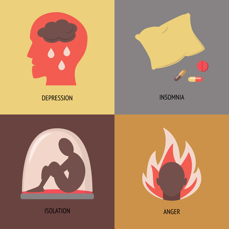 Collection of depression symptoms icons isolated. 4 mental disorder signs in flat style.
