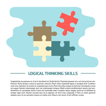 Logical thinking concept illustration in flat style for web banner or printed materials. Poster template with puzzle symbol.