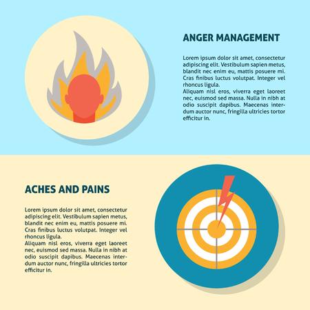 Modèles de bannière de colère, de maux et de douleurs dans un style plat pour le Web ou les documents imprimés. Modèle d'affiche avec symboles de concept.