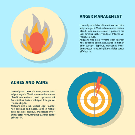 Anger, aches and pains banner templates in flat style for web or printed materials. Poster template with concept symbols. Illustration
