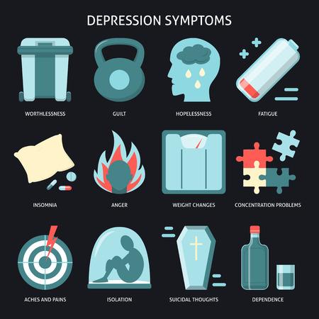 Set of depression symptoms icons in flat style Stock Illustratie