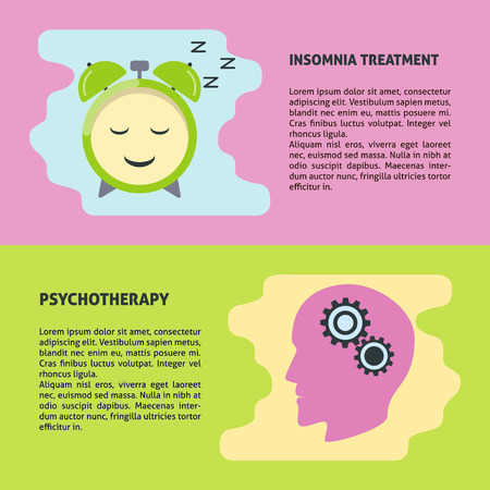 Psychotherapy and insomnia treatment vector banner or flyer template in flat style. Mental health concept posters with place for text. Stock Illustratie