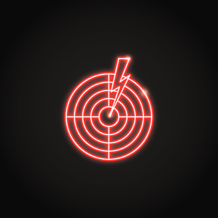 Aches and pains concept neon icon in line style. Shining target symbol with lightning Ilustração