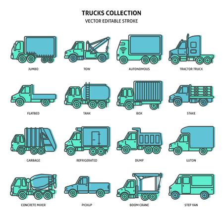 Icônes de camion définies dans le style de ligne mince. Collection de symboles de l'industrie du camionnage isolée sur blanc. Différents types de véhicules de transport de marchandises. Vecteurs