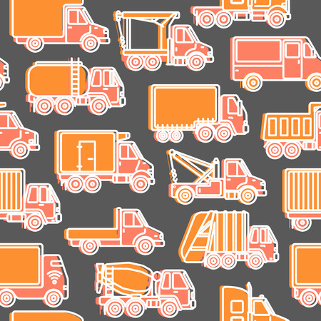 Transportation seamless pattern with different types of trucks in line style. Trucking industry repeating background.