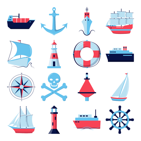 Ocean collection of ship icons in flat style. Marine symbols set including anchor, lighthouse and steering wheel. Sea travel concept elements. Archivio Fotografico - 127691684