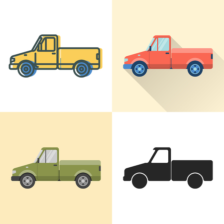 Pickup truck icon set in flat and line styles. Utility vehicle illustration. Transportation symbol isolated on white. Archivio Fotografico - 127585685