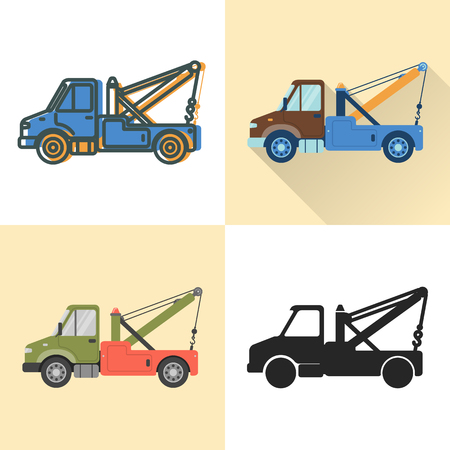 Tow truck icon set in flat and line styles. Recovery vehicle illustration. Transportation symbol isolated on white.