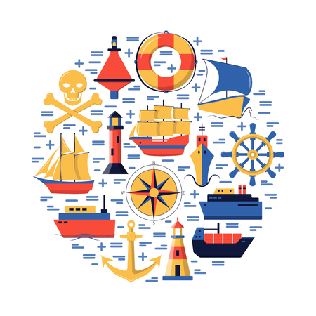 Marine round concept in flat style with ships and nautical symbols. Sea travel and vacation banner or poster template.