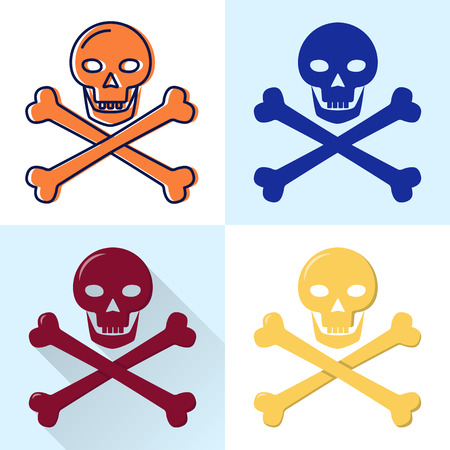 Skull and crossbones icon set in flat and line styles Ilustração