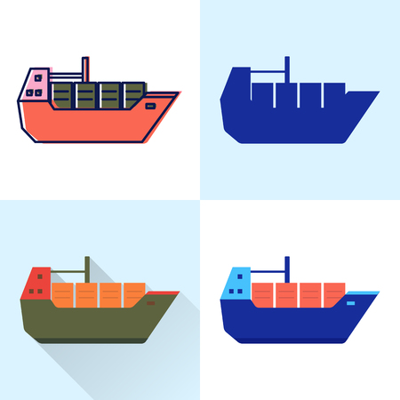Container ship icon set in flat and line styles