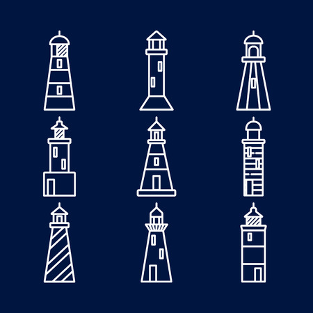 Lighthouse icons set in thin line style isolated on dark background. Nautical building symbols illustration.