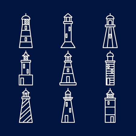 Lighthouse icons set in thin line style isolated on dark background. Nautical building symbols illustration.