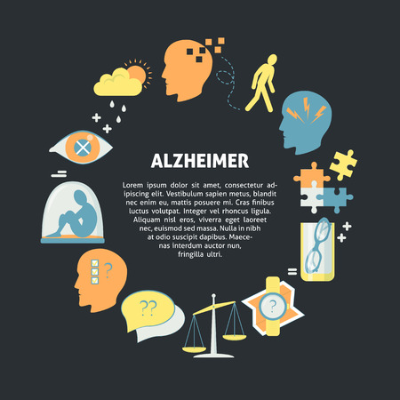 Alzheimers symptoms round concept in flat style