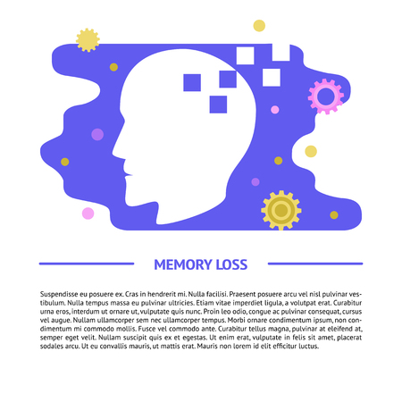 Memory loss concept banner template in flat style