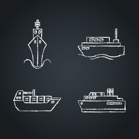 Collection of ship icon sketches on chalkboard. Marine transport symbols set. Chalk drawn sea travel concept elements. Иллюстрация