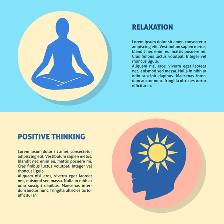 Relaxation and positive thinking flyer templates in flat style. Mental health concept banner or poster with place for text.