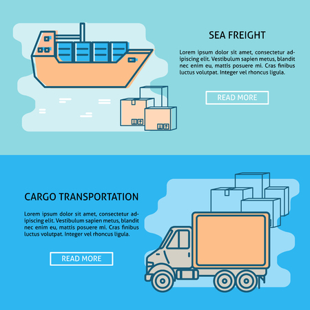 Cargo transportation concept banner or poster templates with place for text. Ship and truck with boxes. Goods delivery background in flat style.