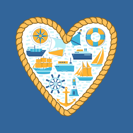 Ocean spirit concept banner or poster template in flat style with ships and nautical symbols. Marine travel and vacation illustration.