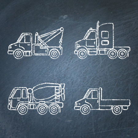 Set of truck icons sketches on chalkboard. Collection of cargo vehicle symbols drawings. Banque d'images - 127372983