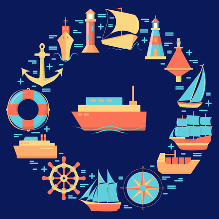 Maritime round concept in flat style with ships and nautical symbols. Sea travel and vacation banner or poster template.