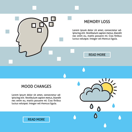 Neurological problems banner or poster templates in line style with place for text. Memory loss and mood changes concept symbols. Medical illustrations. Illustration