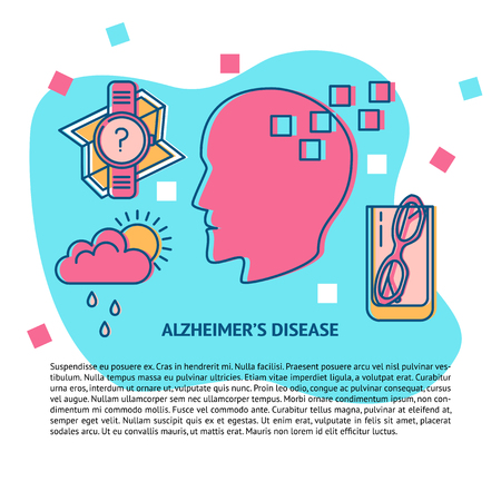 Alzheimer s disease concept banner or poster template in line style with place for text. Medical poster with seniors disease symbols icons. Neurological problems illustration.