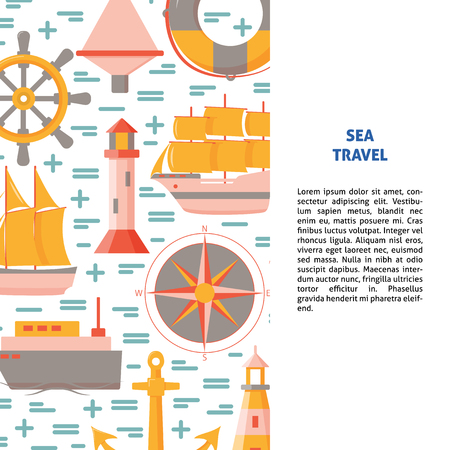 Marine banner or poster template with place for text. Ships and nautical symbols. Sea travel and transportation background in flat style.