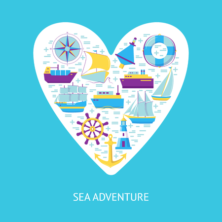 Sea adventure concept banner or poster template in flat style with ships and nautical symbols. Marine travel and vacation illustration with place for text.